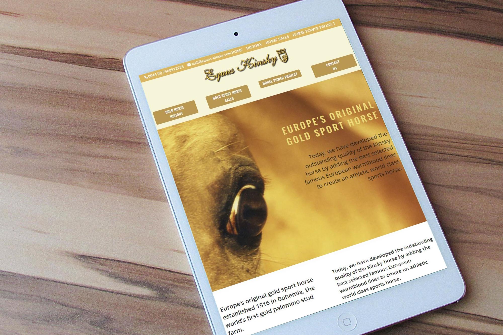 Equus Kinsky website displayed on a tablet