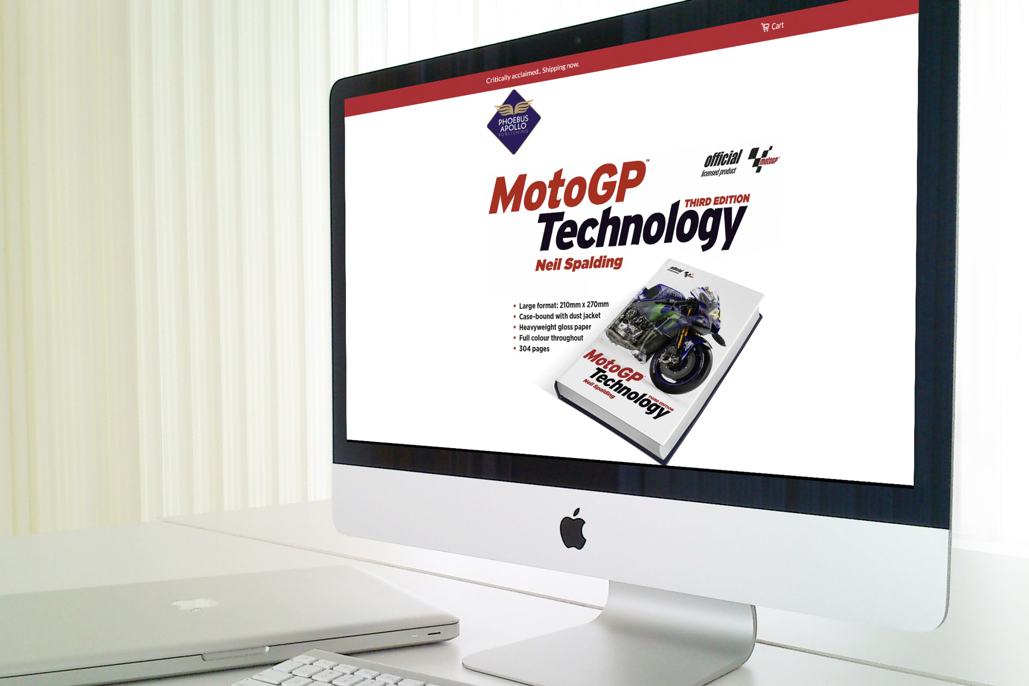 MotoGP Technology website screenshot displayed on an imac