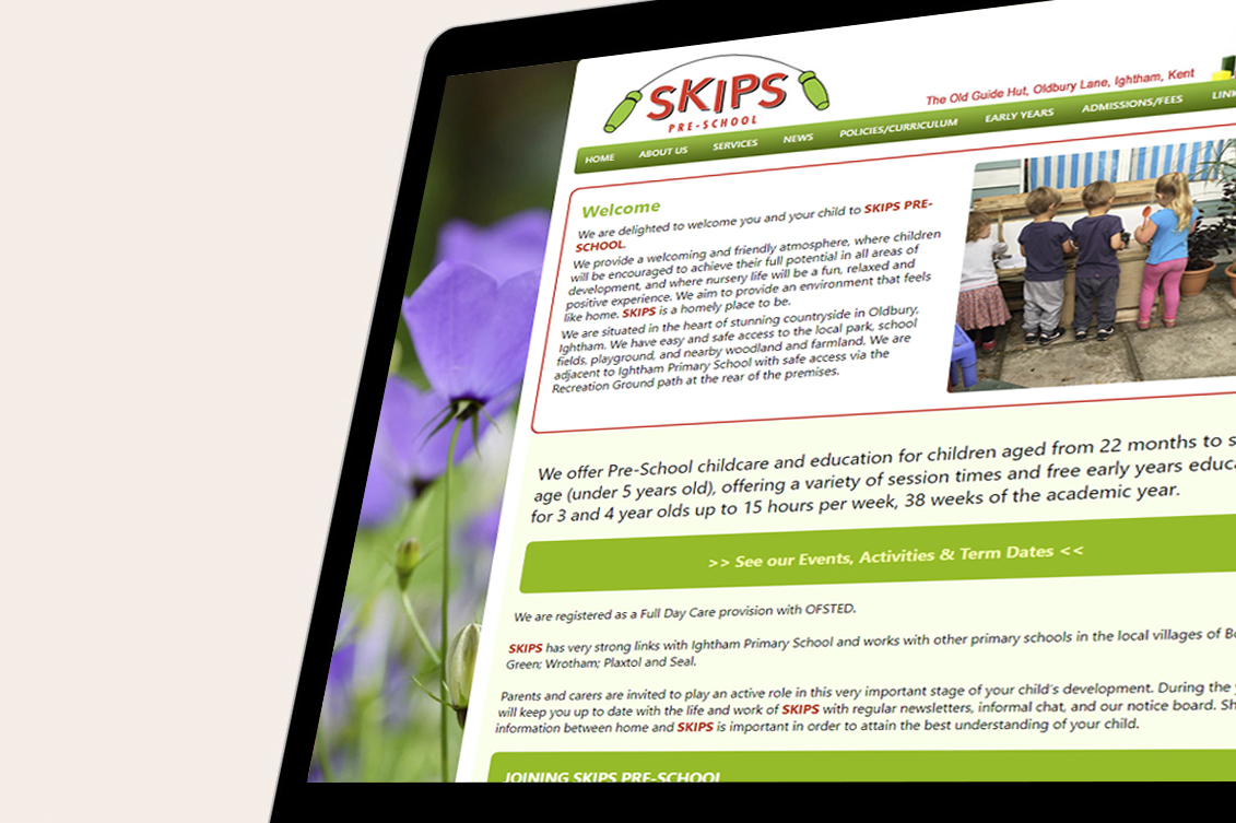 SKIPS Preschool website screenshot displayed on a tablet