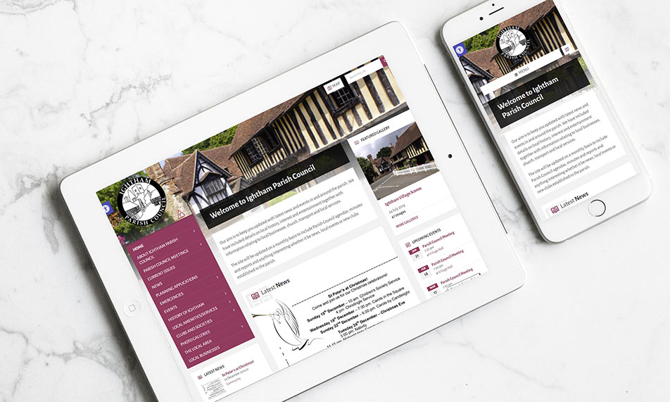 Ightham Parish Council on tablet and mobile