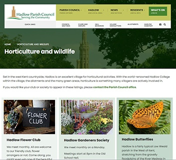 Hadlow Parish Council website screenshot