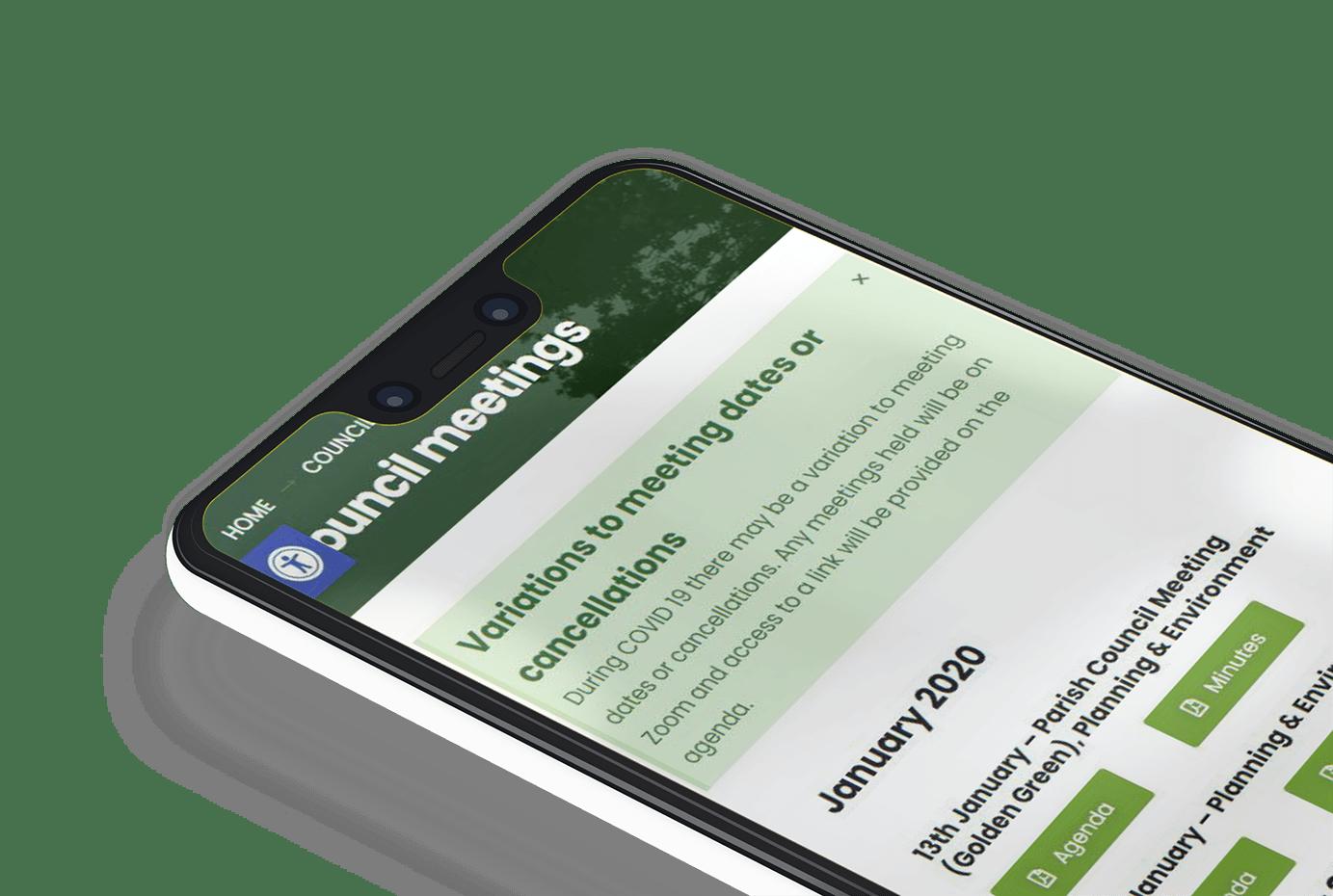 Hadlow Parish Council website shown on a mobile phone