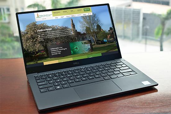 Hadlow Parish Council website shown on a laptop