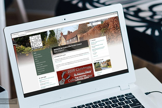Trottiscliffe Parish Council website displayed on a laptop